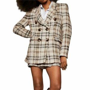 NWT Zara Tweed Plaid Blazer S